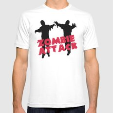 Zombie Attack Funny Quote Mens Fitted Tee White MEDIUM