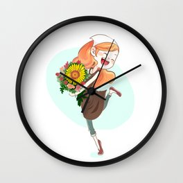 Florist cartoon character Wall Clock