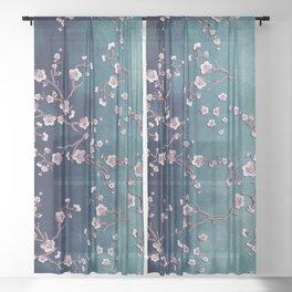SAKURA LOVE  GRUNGE TEAL Sheer Curtain