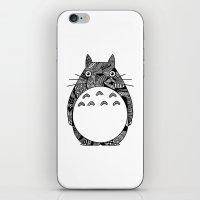 ghibli iPhone & iPod Skins featuring Ghibli Zentangle by Riaora Creations