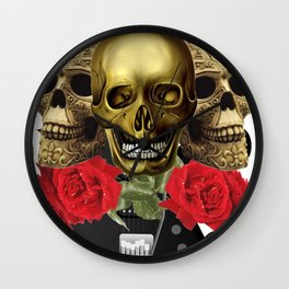 Red Rose Skull Rock and Roll Wall Clock