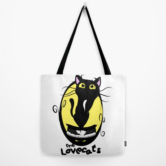 Lovecats The Cure inspired Cotton Tote Bag music themed hand printed accessory
