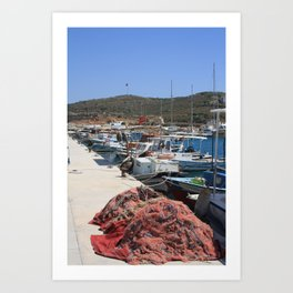 Red Fishing Net and Fishing Boats in Datca Art Print