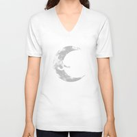 hug V-neck T-shirts featuring Moon Hug by carbine