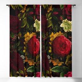 Dutch Midnight Vintage Red Roses Garden Blackout Curtain