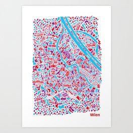 Vienna City Map Poster Art Print