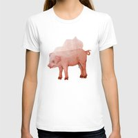 piglet T-shirts featuring Piglet in Wedding Veil by The Tiny Barn Studio