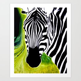 Green Black and White Zebra Art Print