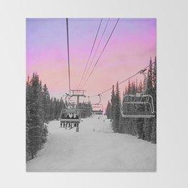 Ski Lift Sunset Shot on iPhone 4 Throw Blanket