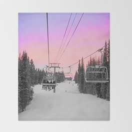 Ski Lift Sunset Shot on iPhone 4 Throw Blanket