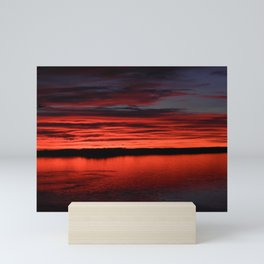 Crimson Sunset Lake Mini Art Print