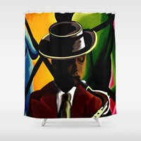 saxophone Shower Curtains featuring Player With Candy Dancers by The Peanut Line