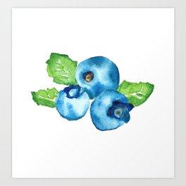 Watercolour Blueberry Art Print