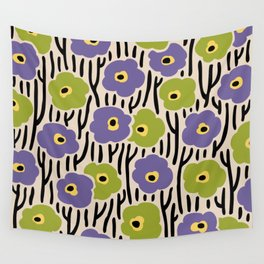 Mid Century Modern Wild Flowers Pattern Purple and Green Wall Tapestry