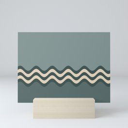 Night Watch & Alpaca Wool Cream Wavy Horizontal Stripes on Juniper Berry & Scarborough Green Mini Art Print
