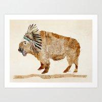 buffalo Art Prints featuring buffalo by bri.buckley