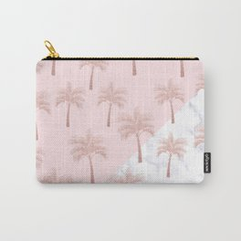 Elegant rose gold glitter palm pattern, white marble & pink Carry-All Pouch
