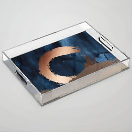 Navy Blue, Gold And Copper Abstract Art Acrylic Tray