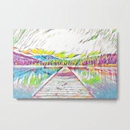 Pastel Rainbow Lake Metal Print