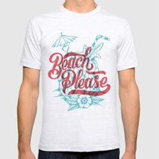 Beach Please Ash Grey MEDIUM Mens Fitted Tee