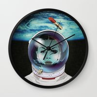 pilot Wall Clocks featuring Miss Space Pilot by SEVENTRAPS