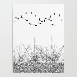 black and white winter landscape Poster