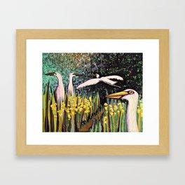 Egret Family Framed Art Print