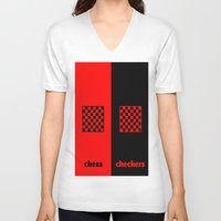 chess V-neck T-shirts featuring Chess & Checkers by hensleyandchristensen