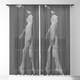 9825-DJA  Nude Woman Yoga Black White Abstract Curves Expressive Lines Slim Fit Girl Zebra Sheer Curtain