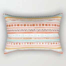 Boho Stripes - Watercolour pattern in rusts, turquoise & mustard. Nursery print Rectangular Pillow