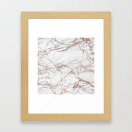 White & Gold Faux Marble Framed Art Print