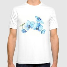 Blue Orchids - Watercolor White Mens Fitted Tee MEDIUM