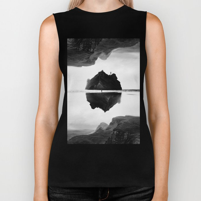 Black and White Isolation Island Biker Tank