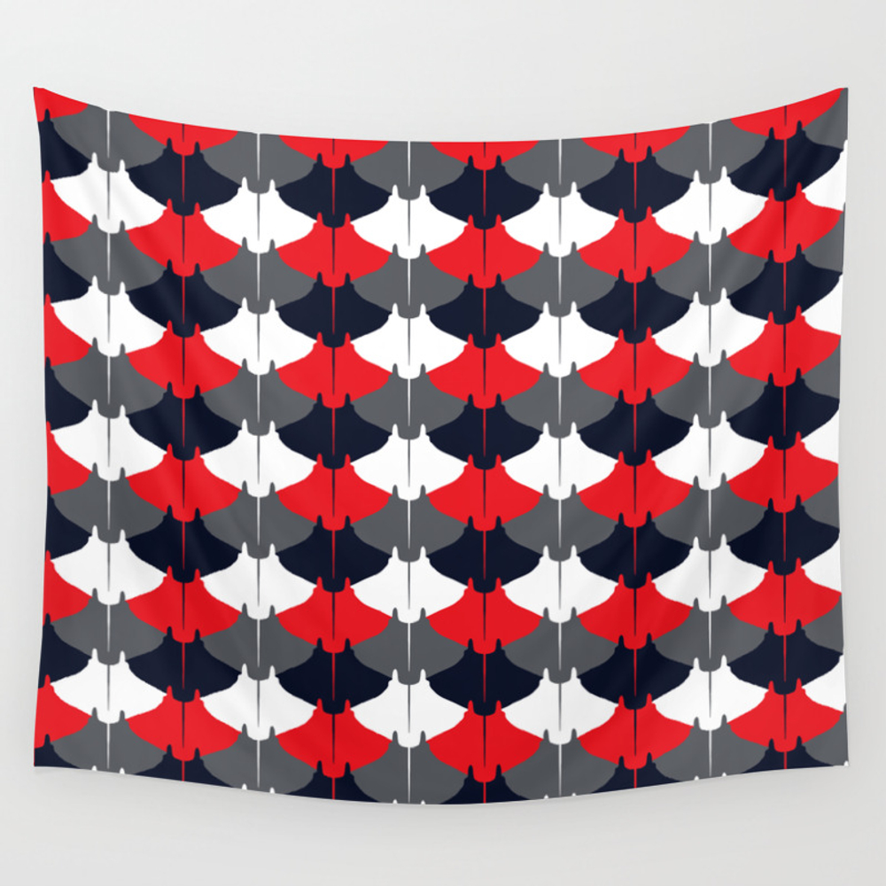 Manta Ray Pattern (blue And Red) Wall Tapestry by Jezkemp TPS2869551