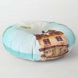Rooftop     surreal, surrealism, digitalart, digitalcollage, collage, graphicdesign, photoshop, phot Floor Pillow