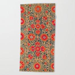 Kermina Suzani Uzbekistan Print Beach Towel