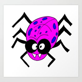 Drawing cartoon of a funny looking spider Art Print