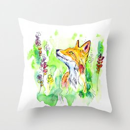 Woodland fox Throw Pillow