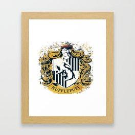 Hufflepuff Splatter Crest Framed Art Print