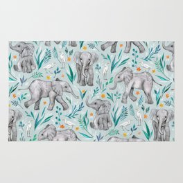 Baby Elephants and Egrets in Watercolor - egg shell blue Rug