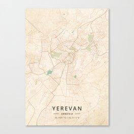 Yerevan, Armenia - Vintage Map Canvas Print