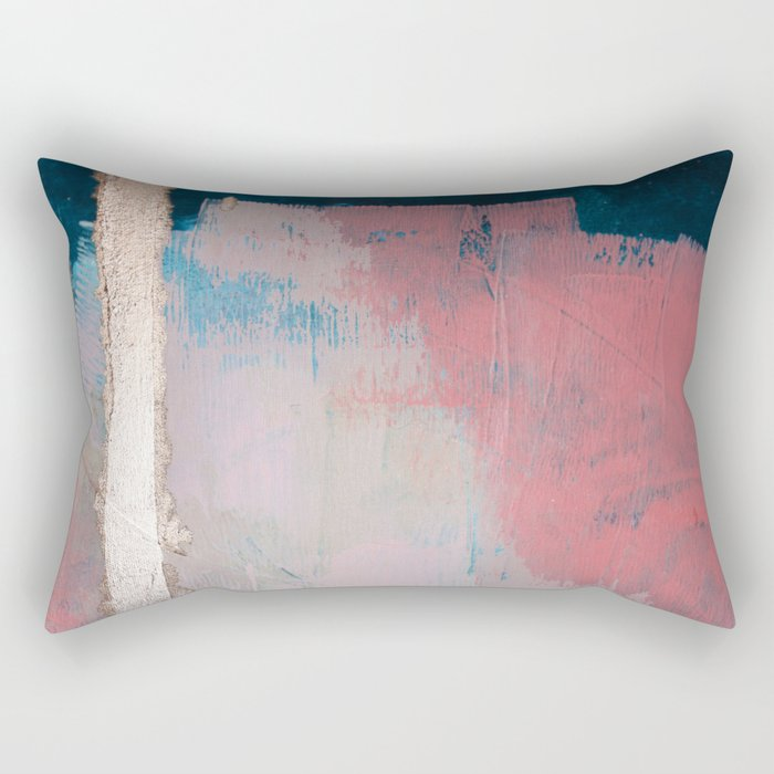 Morning Light: a minimal abstract mixed-media piece in pink gold and blue by Alyssa Hamilton Art Rectangular Pillow