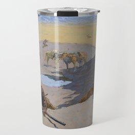 "Frederic Remington Western Art ""Fighting for the Waterhole"" Travel Mug"