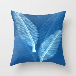 Blueprint Leaves Throw Pillow
