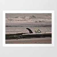 surfboard Art Prints featuring Surfboard 1 by Becky Dix