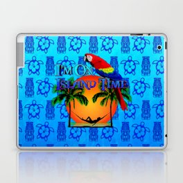 Blue Tikis Island Time And Parrot Laptop & iPad Skin
