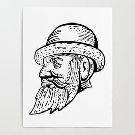 Hipster Wearing Bowler Hat Etching Black and White Poster