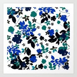 cobalt leaves Art Print