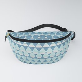 Retro Abstract Blue Aztec Zigzag Mosaic Pattern Fanny Pack