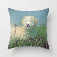 puppy Throw Pillows featuring PUPPY  by Monika Strigel